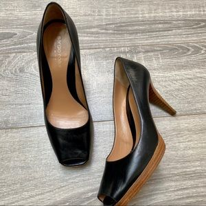 Sergio Rossi Black leather peep Toe Heels 38
